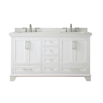 Densbury 60 in. W x 22 in. D Bath Vanity in White with Cultured Stone Vanity Top in White with White Basins