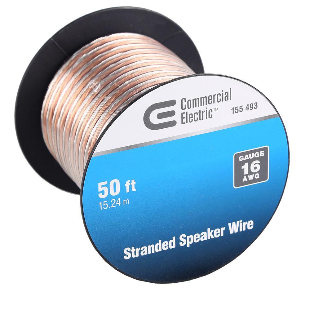 Commercial Electric 100 ft. 16-Gauge Stranded Speaker Wire-Y280565 ...