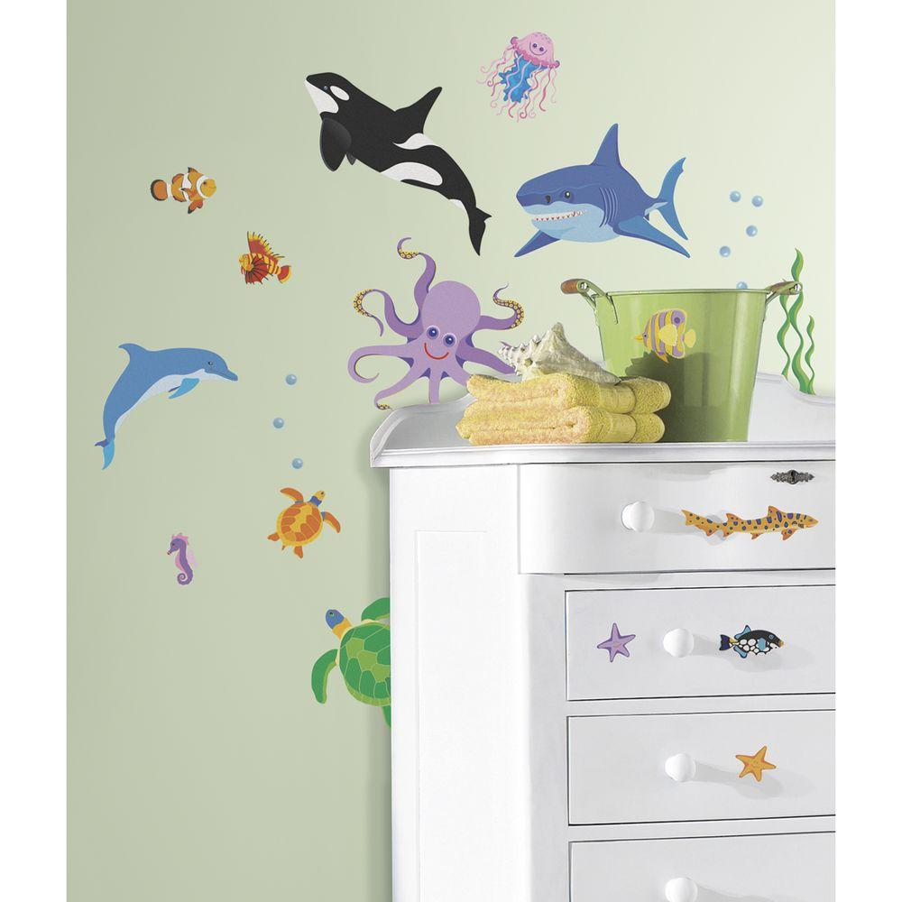 York Wallcoverings 5 in. x 11.5 in. New Speed Limit Awesome Ocean Peel and Stick Wall Decals