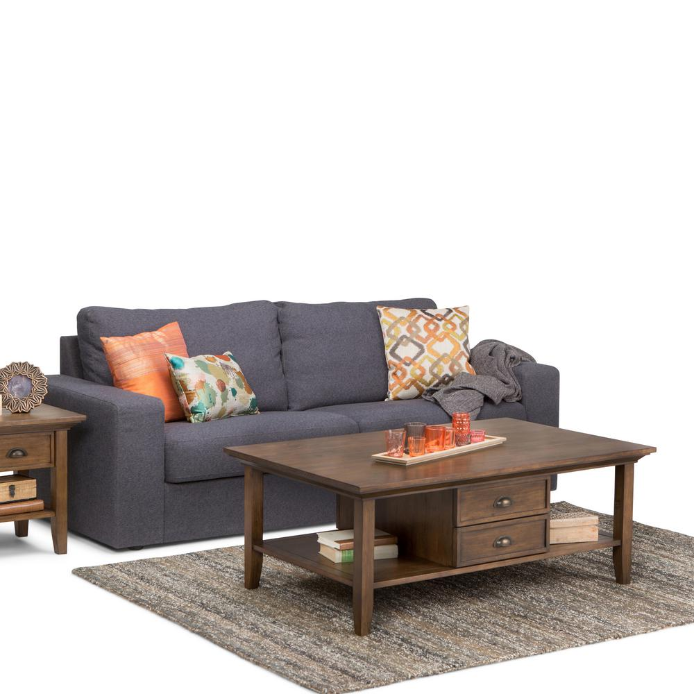 Hooper Storage Coffee Table Natural Ash: Simpli Home Redmond Rustic Natural Aged Brown Built-In