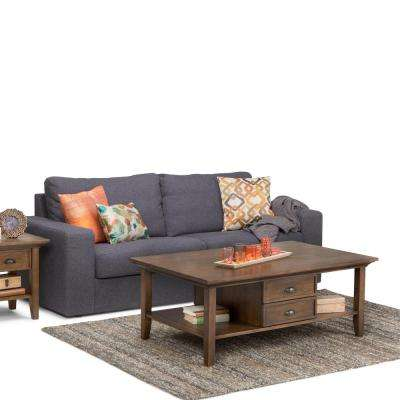 Redmond Rustic Natural Aged Brown Built-In Storage Coffee Table