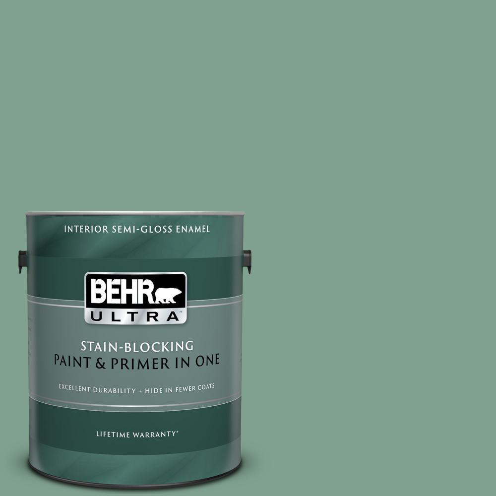 Behr Ultra 1 Gal Mq6 11 Mossy Bench Semi Gloss Enamel