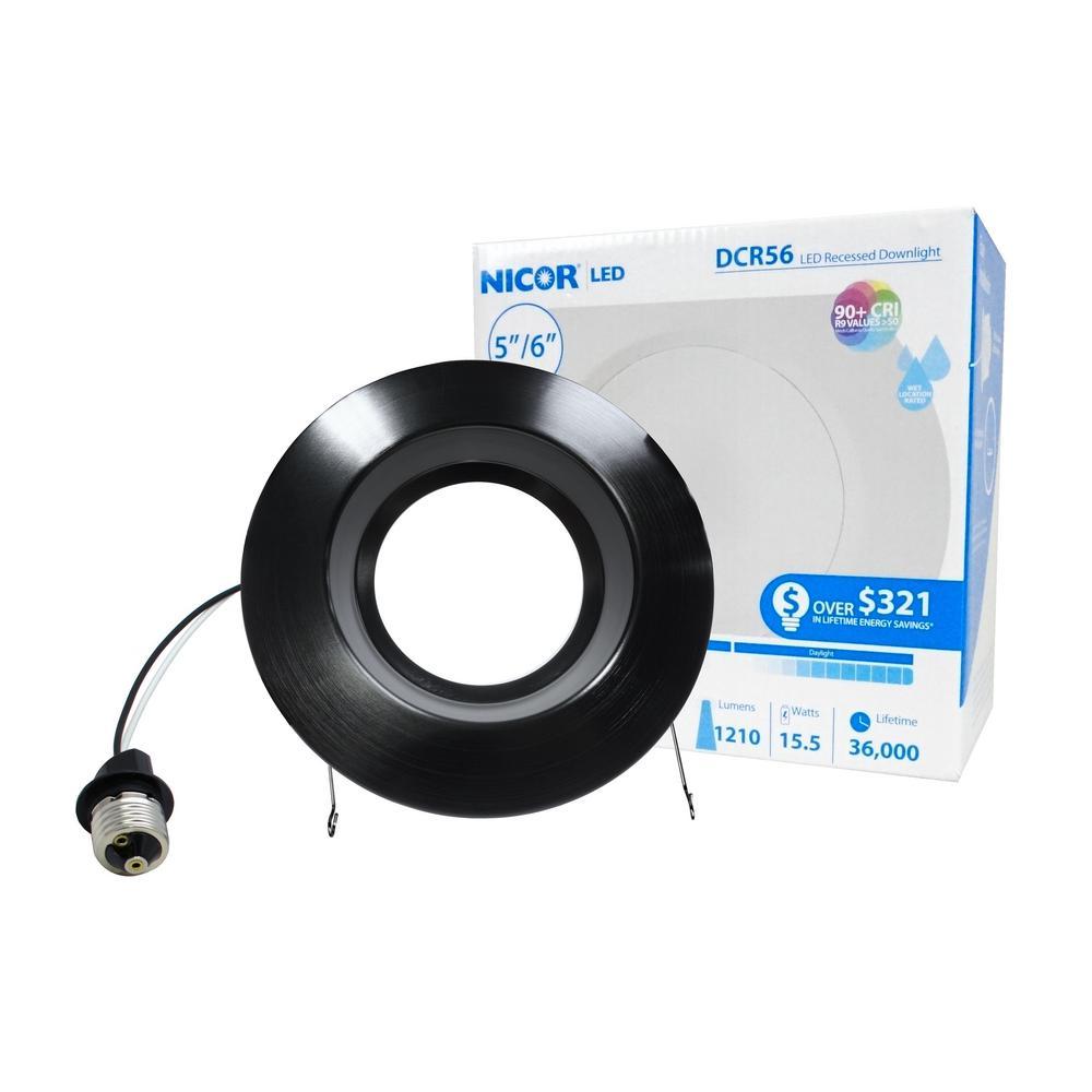 5 in. and 6 in. Downlight Black 1200-Lumen Integrated LED Recessed Trim Retrofit Light