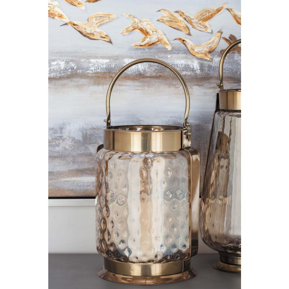 19 in. Bronze-Finished Stainless Steel Frosted Glass Candle Holder