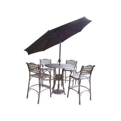 Elite 5-Piece Patio Bar Set with 2-Piece Umbrella Set