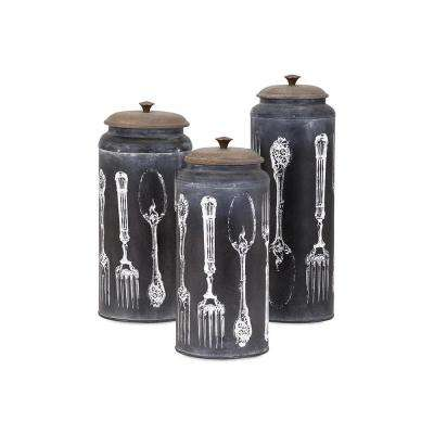 Vintage Black and White Lidded Canisters (Set of 3)