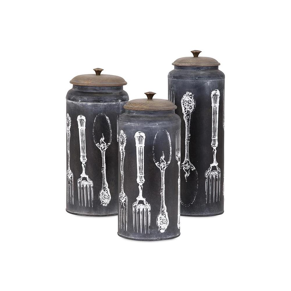 Charmant Vintage Black And White Lidded Canisters (Set Of 3) 95731 3   The Home Depot