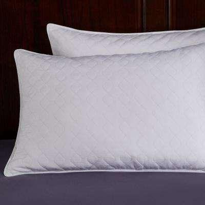 Puredown Quilted White Goose Feather and Down Pillow, Standard/Queen (Set of 2)