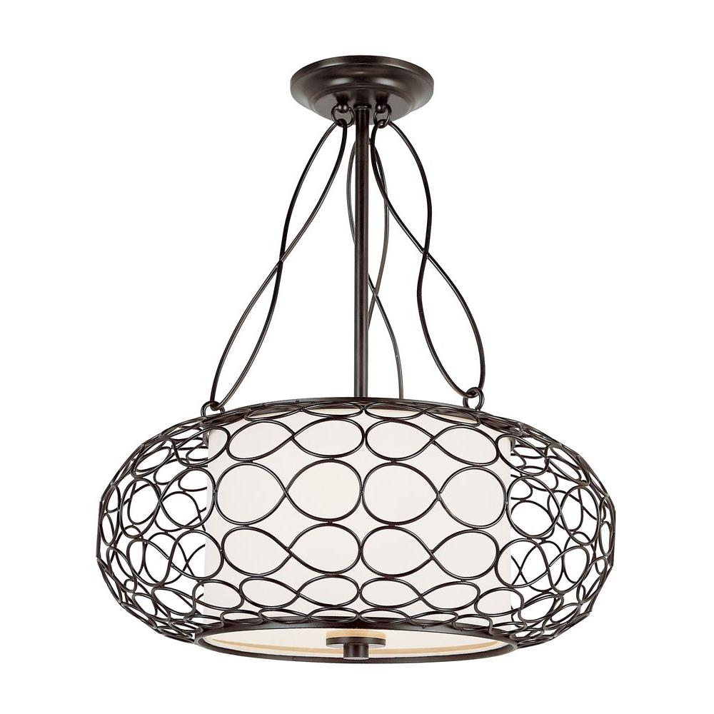 Bel Air Lighting 2-Light Brown Pendant with White Frosted Glass Shade