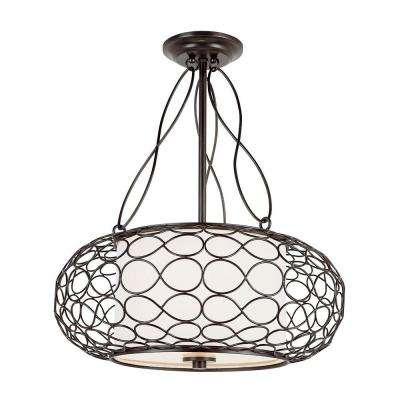 2-Light Brown Pendant with White Frosted Glass Shade
