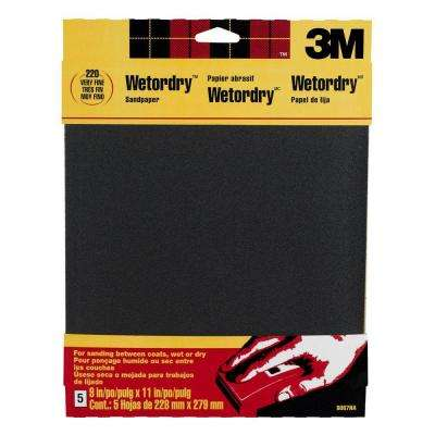 9 in. x 11 in. 220 Grit Fine Silicon Carbide Sandpaper (5-Pack)(Case of 50)