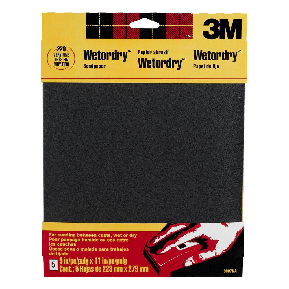 3m 9 In X 11 In 220 Grit Fine Silicon Carbide Sandpaper