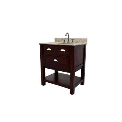 Stenton 30 in. W Bathroom Vanity in Brown with Cultured Marble Vanity Top in Cream with White Basin