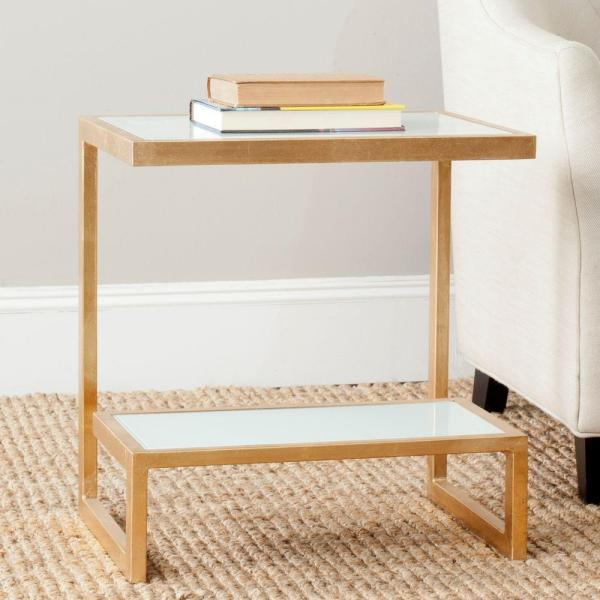 Safavieh Kennedy Gold and White Glass Top End Table FOX2522B