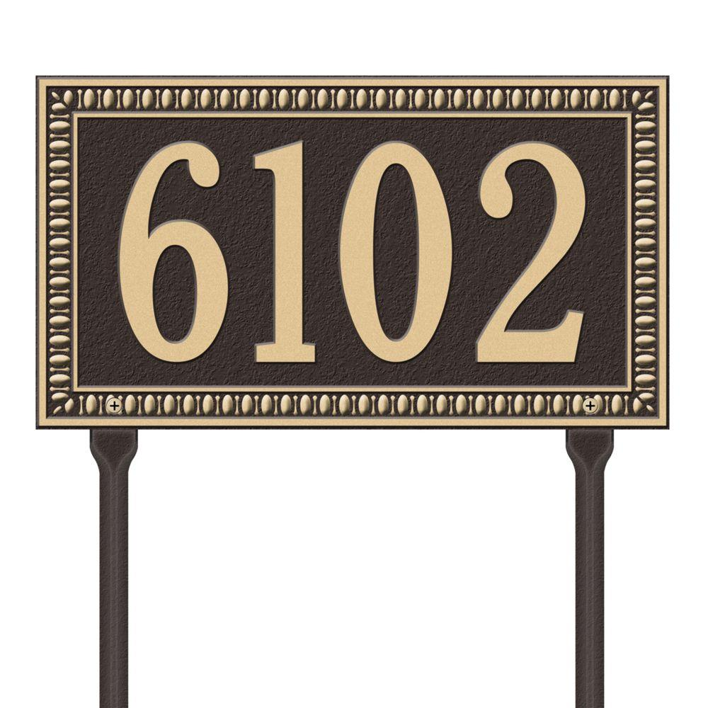 Egg and Dart Rectangular Bronze/Gold Standard Lawn One Line Address Plaque
