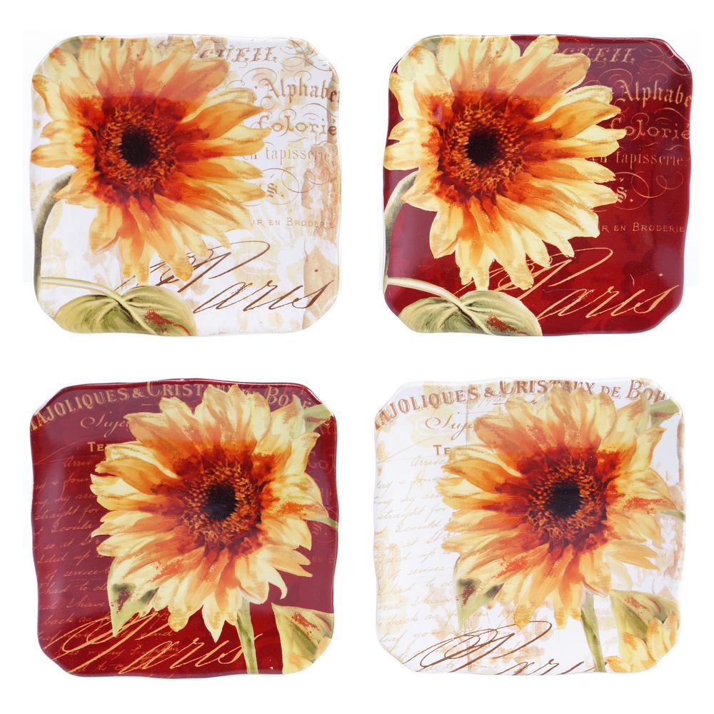 Certified Intl Paris Sunflower Canape Plate (Set of 4)