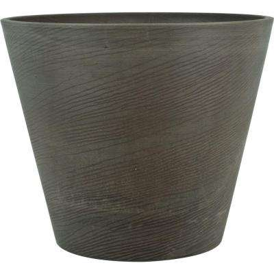Oak 22 in. Round Charcoal Plastic Planter