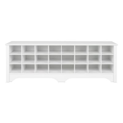 60 in. White Shoe Cubby Bench