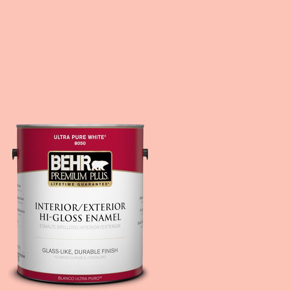 BEHR Premium Plus 1-gal. #190A-3 Salmon Peach Hi-Gloss Enamel Interior/Exterior Paint