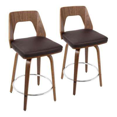 Trilogy 24 in. Walnut and Brown Faux Leather Counter Stool (Set of 2)
