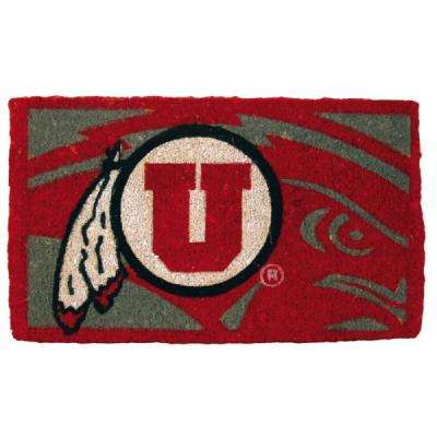 NCAA 18 in. x 30 in. Utah University Bleached Welcome Mat
