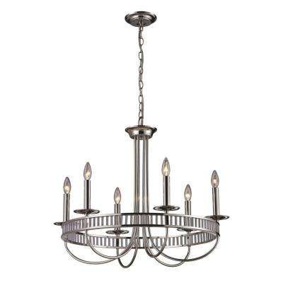 Braxton 6-Light Polished Chrome Ceiling Mount Chandelier