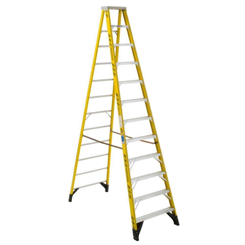 12 ft. Yellow Fiberglass Step Ladder with 375 lb. Load Capacity