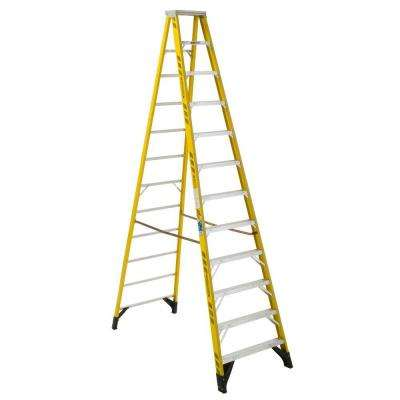 12 ft. Yellow Fiberglass Step Ladder with 375 lb. Load Capacity Type IAA Duty Rating