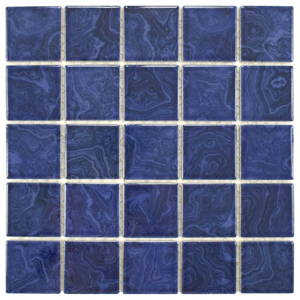Merola Tile Resort Marine Blue 12 in. x 12 in. x 5 mm Porcelain ...