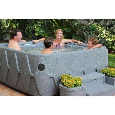 Premium 500 5-Person Plug and Play Hot Tub with 29 Stainless Jets, Heater, Ozone and LED Waterfall in Graystone