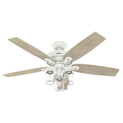 Crown Canyon II 52 in. LED Indoor Fresh White Ceiling Fan with Light Kit