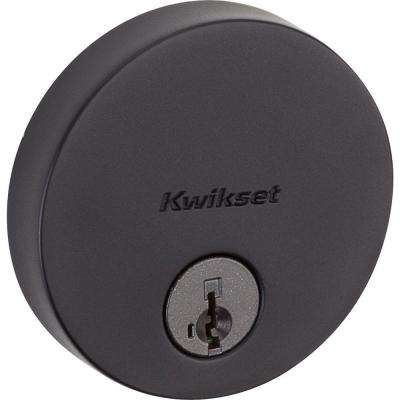 Uptown Low Profile Round Contemporary Iron Black Single Cylinder Deadbolt Featuring SmartKey Security