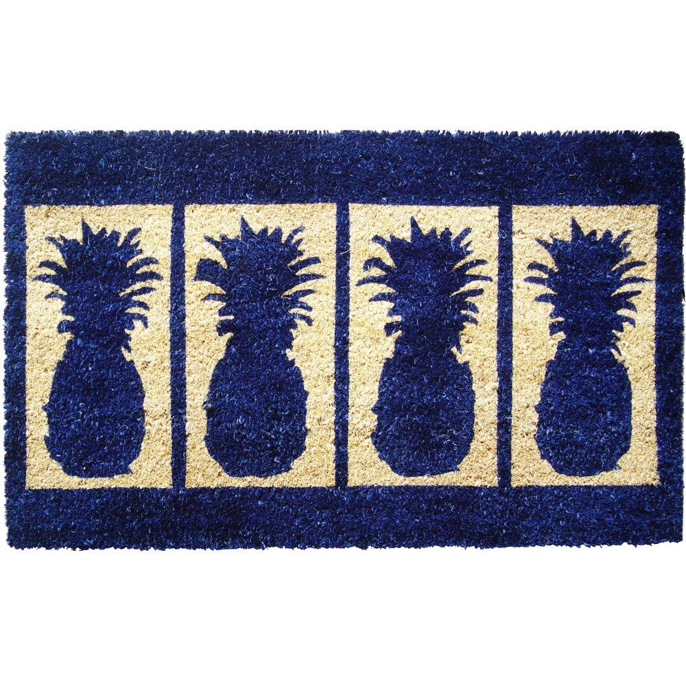 Entryways Four Pineapples 18 in. x 30 in. Extra Thick Hand Woven Coconut Fiber Door Mat