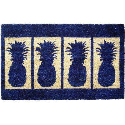 Four Pineapples 18 in. x 30 in. Extra Thick Hand Woven Coconut Fiber Door Mat