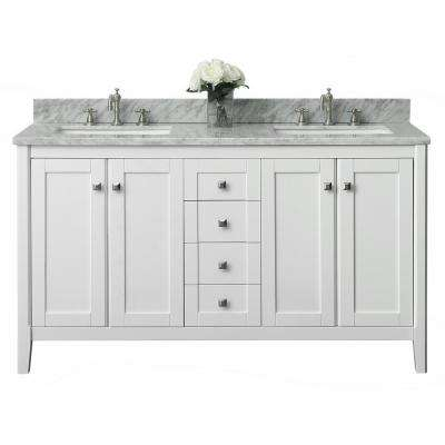 Shelton 60 in. W x 22 in. D Vanity in White with Marble Vanity Top in Carrera White with White Basins