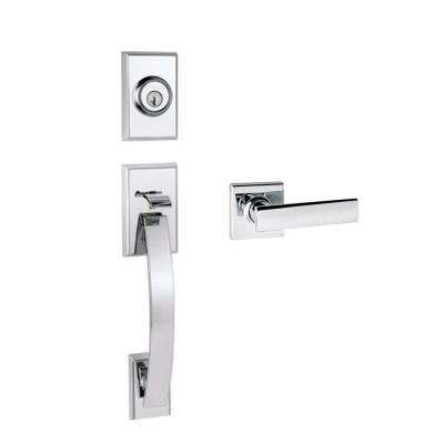 Tavaris Polished Chrome Single Cylinder Door Handleset with Vedani Lever Featuring SmartKey Security
