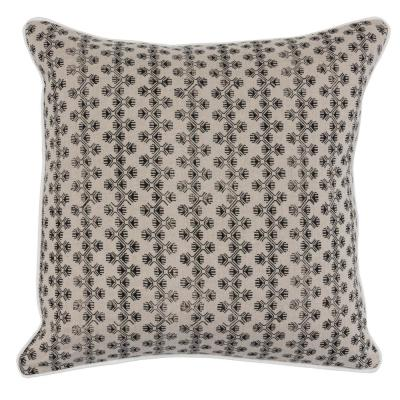 Ophelia Black Natural 22 in. x 22 in. Linen Block Print Decorative Pillow