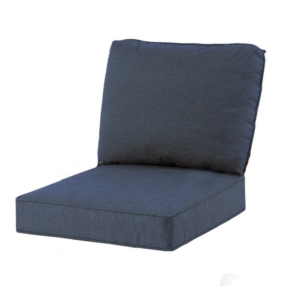Spring Haven 23.25 x 27 Outdoor Chair Cushion in Standard Blue - Hampton Bay - Outdoor Cushions - Patio Furniture - The Home Depot