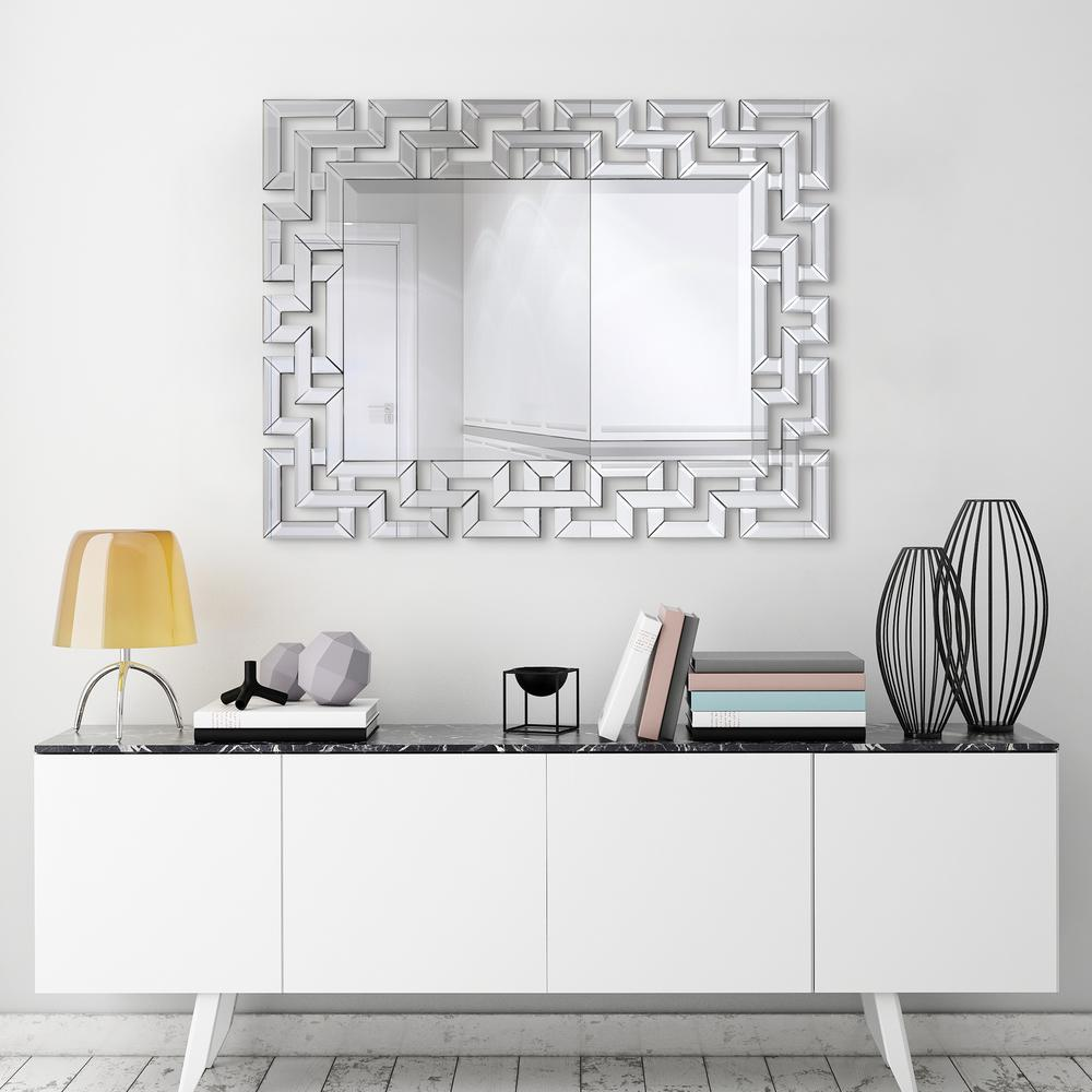 Medium Rectangle Clear Beveled Glass Modern Mirror 31 In H X 40 In W Mom 16060mm 3140 The Home Depot