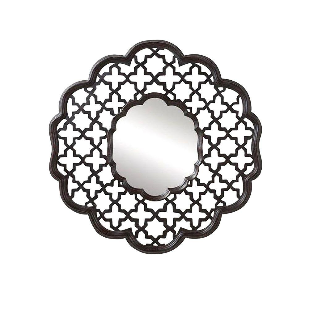 Home Decorators Collection Hansa 42 in. H x 42 in. W Dark Espresso Wood Carved Framed Mirror