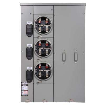 Uni-PAK 3-Gang 300 Amp Ringless Style Multi-Family Metering with Horn Bypass