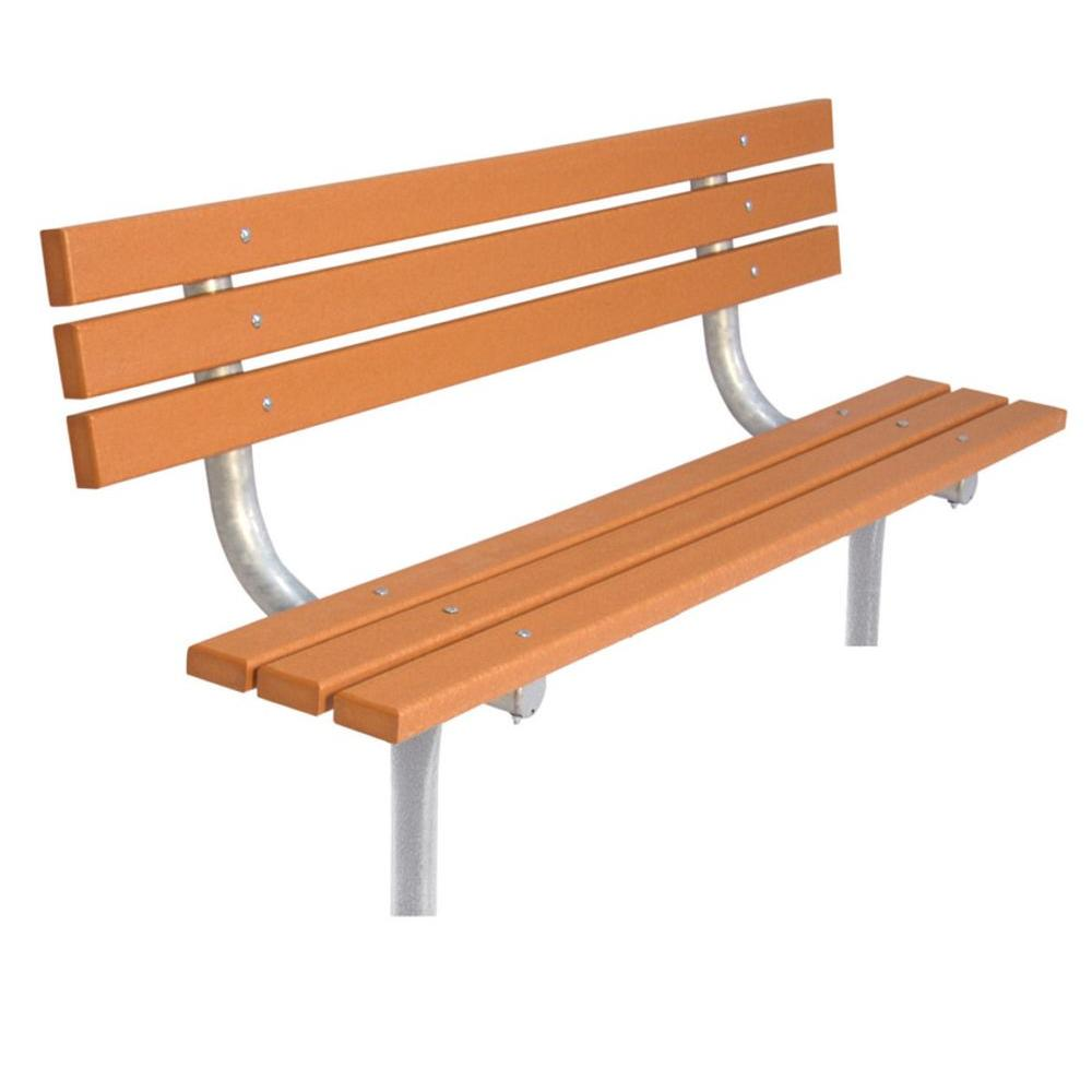 6 ft. Cedar Commercial Park In-Ground Recycled Plastic Bench with Back
