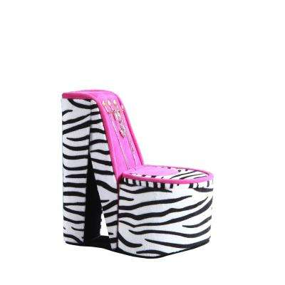 9 in. High Heel Shoe Display with Hooks Zebra Print Jewelry Box