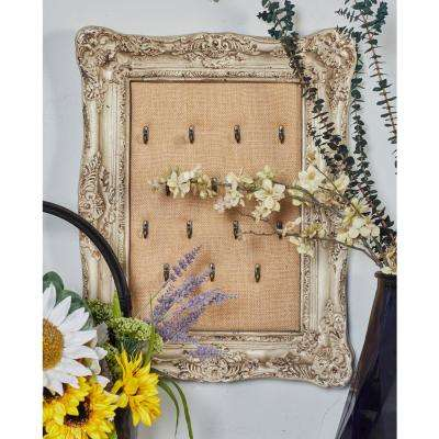 Distressed White Framed 14-Hook Wall Mounted Jewelry Storage