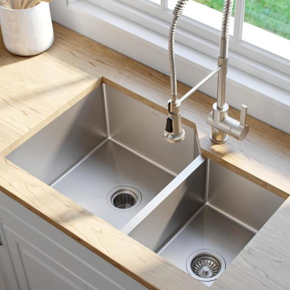 Kraus Standart Pro 32in 16 Gauge Undermount 60 40 Double Bowl Stainless Steel Kitchen Sink Khu123 32 The Home Depot