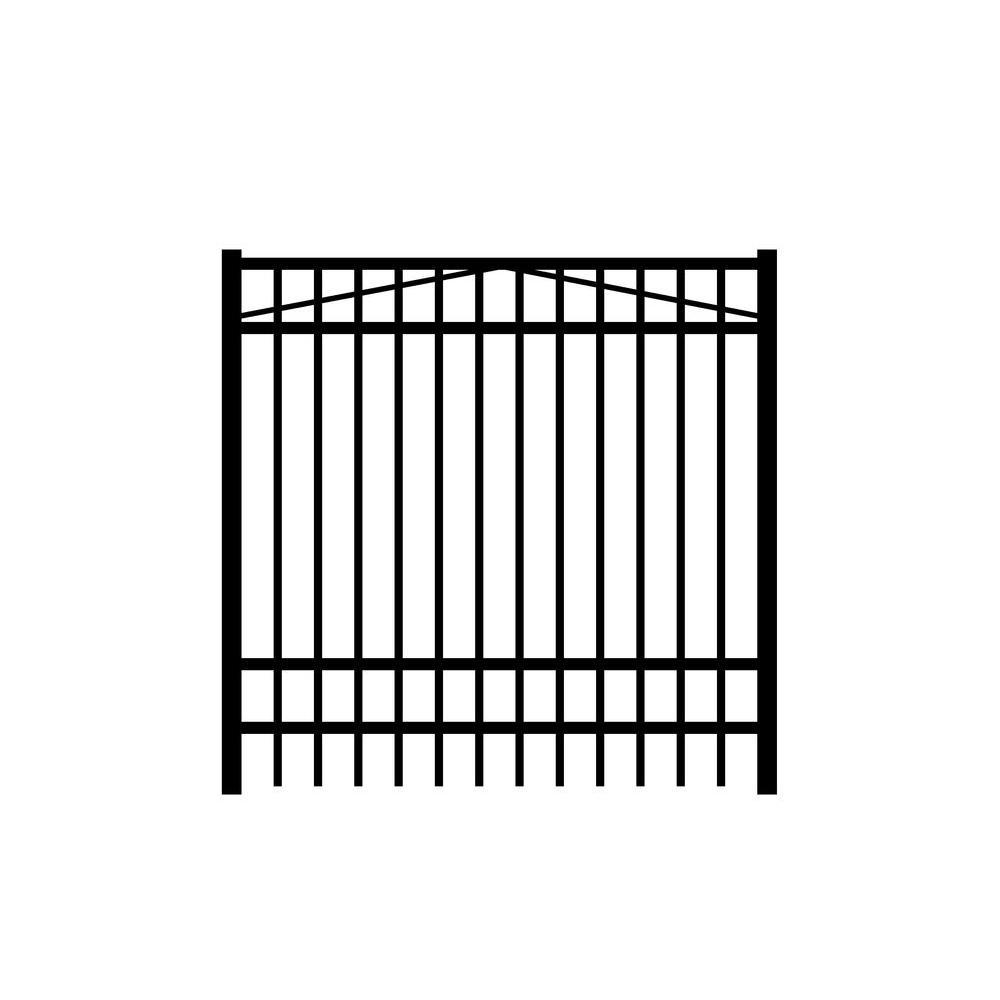 Jefferson 5 ft. W x 6 ft. H Black Aluminum 4-Rail Fence Gate