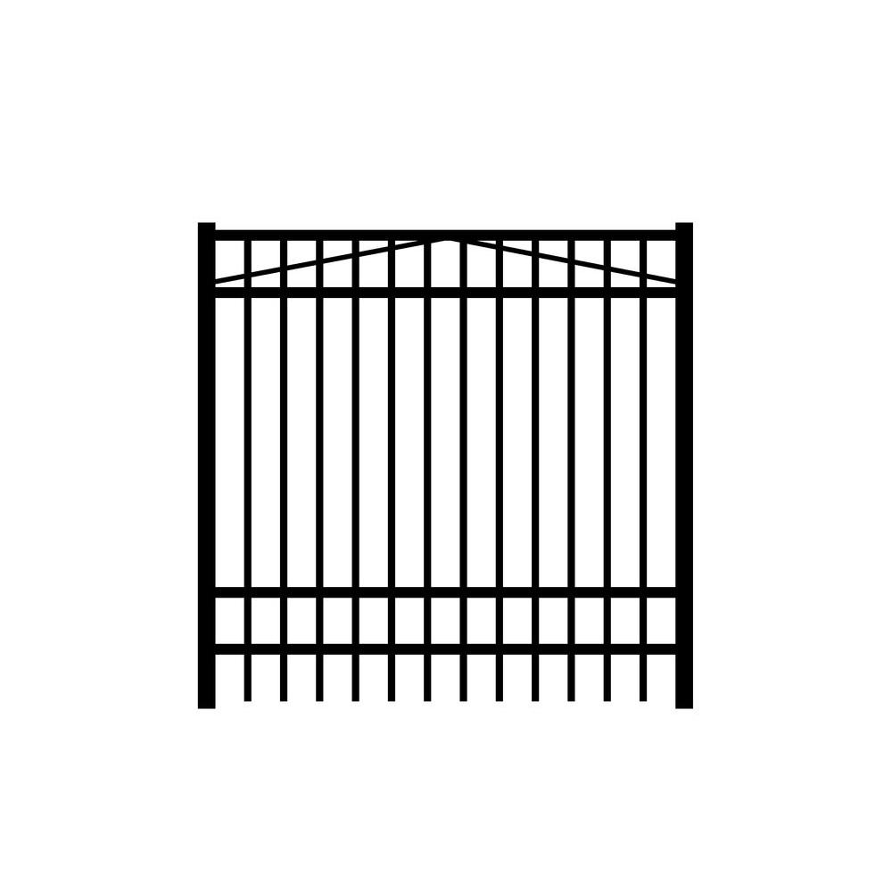 Jefferson 6 ft. W x 6 ft. H Black Aluminum 4-Rail