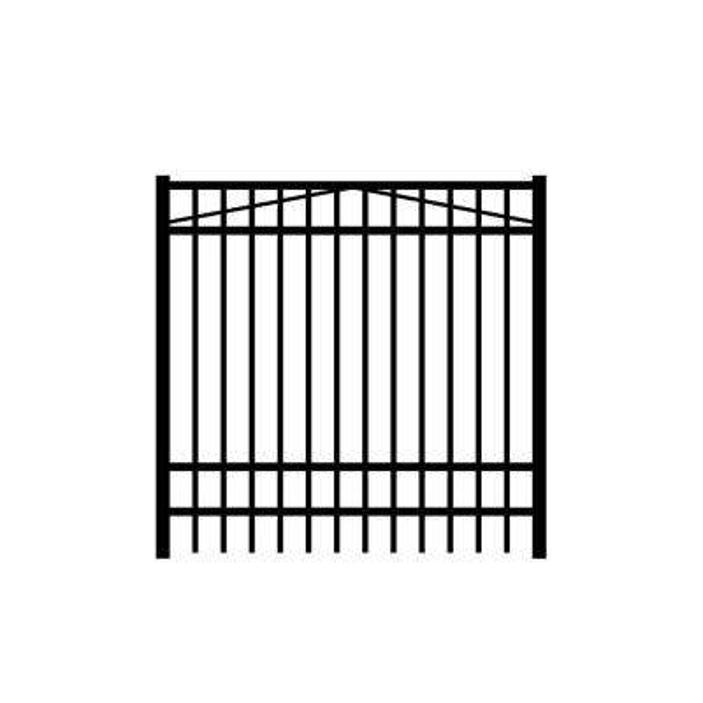 Jefferson 6 ft. W x 6 ft. H Black Aluminum 4-Rail Fence Gate