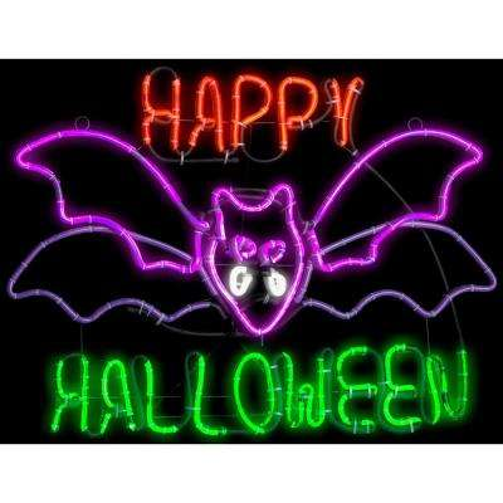 1.5 ft. H x 2 ft. L Light Glo Flashing Flying Bat w/Happy Halloween