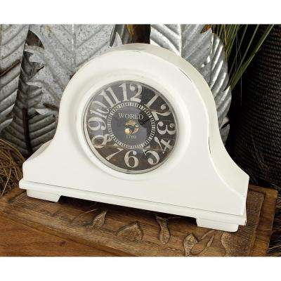 7 in. x 10 in. White and Black Iron Vintage-Style Round Mantel Clocks (Set of 2)